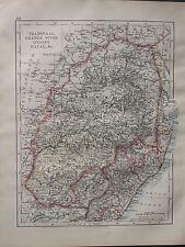 1900 VICTORIAN MAP ~ TRANSVAAL ORANGE RIVER COLONY NATAL SWAZI LAND WATERBERG