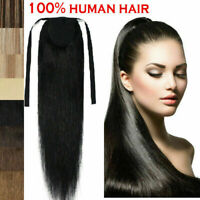 15-24inch100% Remy Human Hair Clip In Ponytail Straight Human Hair Extension 80G