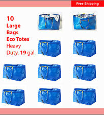 IKEA 10-Pk Large Bag Shopping FRAKTA Blue Laundry Tote Groceries Heavy Duty