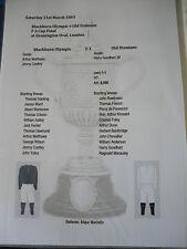 1883 FA Cup Final Blackburn Olympic v Old Etonians matchsheet