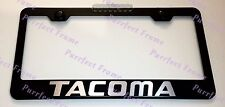 Toyota TACOMA LASER Style Black Stainless Steel License Plate Frame W/ Bolt Caps