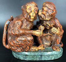 "Rare Petite Choses Cast Metal Whispering Monkey's Figurine - 5.5"" x 7"""