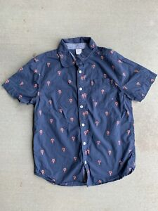 Gymboree boys button down shirt lobster print top short sleeves blue size 10-12