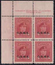 Canada #O4 Upper Left Plate Block