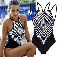 Damen Badeanzug Einteiler abnehmbare Träger Neckholder Bikini Bademode Spitze