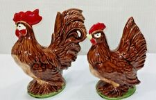 Ceramic chickens Rooster Hen Vintage Figurines 1954