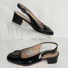 Ferragamo Boutique Size 7.5 Slingback Pumps Black Patent Leather Sandals Italy