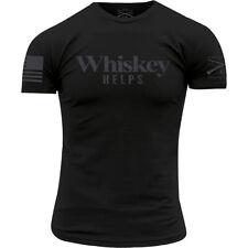 Ворчун стиль виски помогает круглый вырез футболка-черный