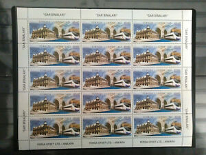 TURKEY 2008, TRAIN STATION BUILDINGS Full Sheet ( have got 2 sheet ) MNH