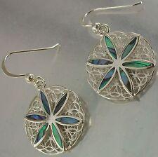 925 Sterling Silver and Shell Star Flower Design Filigree Hook Earrings, 19mm