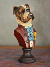 Statue Socle Figure Tete De Chien Buste Style Retro Vintage Resine Ceramique
