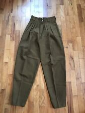 1960 Vintage Womans Army Green Utility Pants High waist Trousers Women 26 Waist