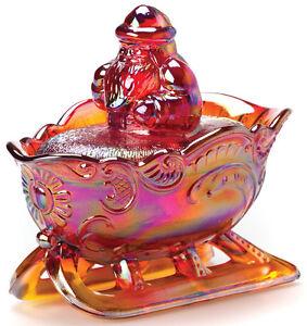 Santa on Sleigh - Christmas Holiday - Mosser USA - Red Carnival Glass