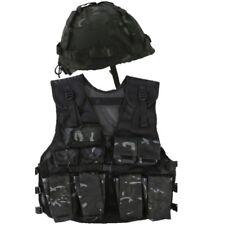 BOYS ARMY OUTFIT ASSAULT ACTION VEST HELMET FANCY DRESS KIDS SAS BLACK CAMO