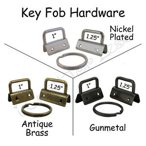 100 Key Fob Hardware w/ Key Rings - Pick Size and Finish - for Making Wristlets