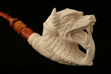 Dragon Head Hand Carved by I. BAGLAN Block Meerschaum Pipe in a fit case 6820
