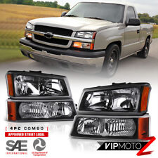 03-06 Chevy Silverado Avalanche 1500 2500 3500 Black 4PC Headlight Signal Lamp