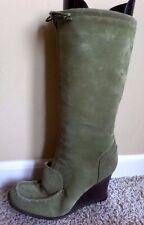 BCBGirls BCB Girls Green Suede Leather Wedge Boots Womens 8 B