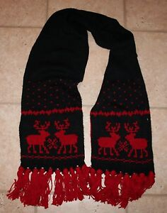 NWT Abercrombie Girls No Size Navy Blue & Red Tassle Knit Reindeer Scarf