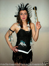 Nativo Indio Rojo Traje Negro Traje De Pocahontas Fancy Dress Squaw Halloween