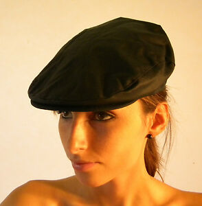 New Traditional Country Work Fashion Oilskin Wax Cotton Hat Navy Blue Flat Cap