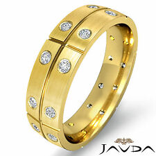 Round Bezel Diamond Mens Dome Ring 18k Yellow Gold Eternity Wedding Band 0.26Ct
