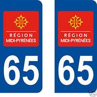 stickers autocollants plaque immatriculation auto Département Hautes Pyrénées 65