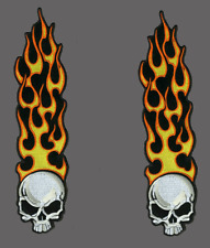LONG FLAME SKULL PATCH  7 INCH PAIR BIKER PATCH