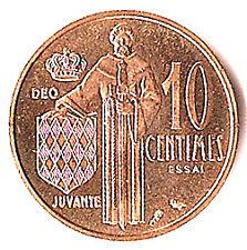MONACO 10 centimes essai OR 1962, frappé à slt 500 ex.