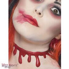 FANCY DRESS ACCESSORY # HALLOWEEN RED SLASHED UP BLOOD DRIP CHOKER