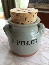 Vintage art studio 70s Swedish pottery handcrafted stoneware pot P Pillar