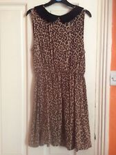 Girl's sleeveless dress, age 14. New Look, leopard print with collar.