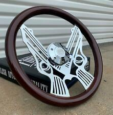 "15"" Chrome Pistol Steering Wheel Dark Wood Grip, 6 Hole Chevy Ford GMC"