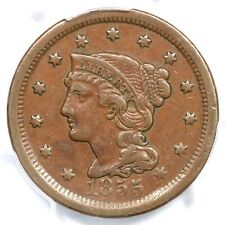1855 N-5 R-5 PCGS VF 35 Upright 55 Braided Hair Large Cent Coin 1c