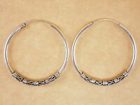 New Oxidized Genuine 925 Sterling Silver Byzantine Bali Hoops Earrings 35mm
