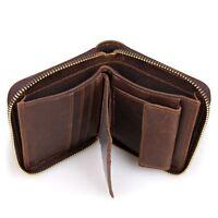 Retro Style Men Vintage Cowhide Leather Zip Around Wallet Card Holder Coin Purse