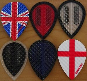 Harrows Dimplex Dart Flights - 6 Colour Choices-Pear Shaped,1/3/5/10 Sets....