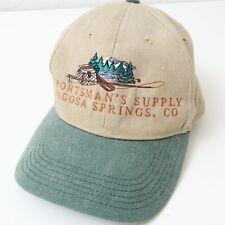 Vintage Pagosa Springs Colorado Sportsman's Supply Fishing Tan Baseball Cap Hat