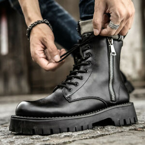 Mens Winter Lace Up Faux Leather High Top Ankle Boots Street Fashion Zip Shoes L
