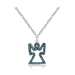 Sterling Silver Nano Simulated London Blue Topaz Angel Necklace