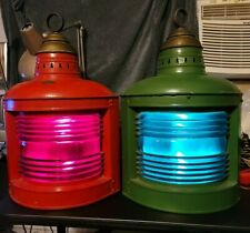 Excellent Huge Antique Perko maritime navigation lamps pair condition red green