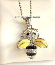 Silver Plated Bumble Bee Necklace Crystal 16 inch Insect Queen Bea USA Seller