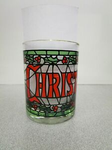 Vintage Merry Christmas Cera Houze Stained Glass Holly Gold Rim