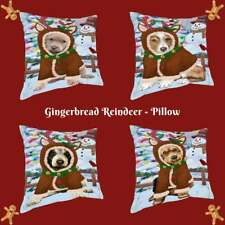 Christmas Gingerbread Reindeer Dog Cat Pet Photo Throw Decorative Pillow