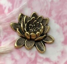 ANTIQUE BRASS Retro LOTUS FLOWER Stamping ~ Jewelry Finding (CA-3050)