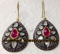 Estate Victorian 7.90cts Rose Antique Cut Diamond Ruby Silver Earring Jewelry