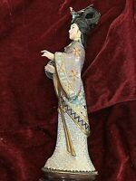 "Vintage Chinese Cloisonne Female Figurine. Carved Face & Hand. 10.25"" #3"
