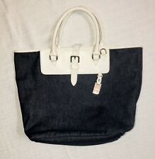 Dooney And Bourke Tote handbags large Demin With White Leather Handles NICE