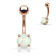 Rose Gold Plated Glitter Opal Ball BELLY Button NAVEL Bar RINGS Piercing Jewelry