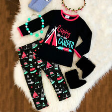 Kids Toddler Baby Girls Happy Camper Long Sleeve T-Shirt Tops Pants Outfit Set
